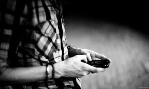PIC guy texting blackandwhite